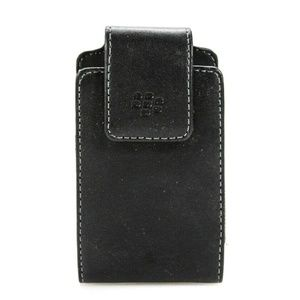 CLIP ON MAGNET LEATHER PHONE CASE ACCESSORY BLACK